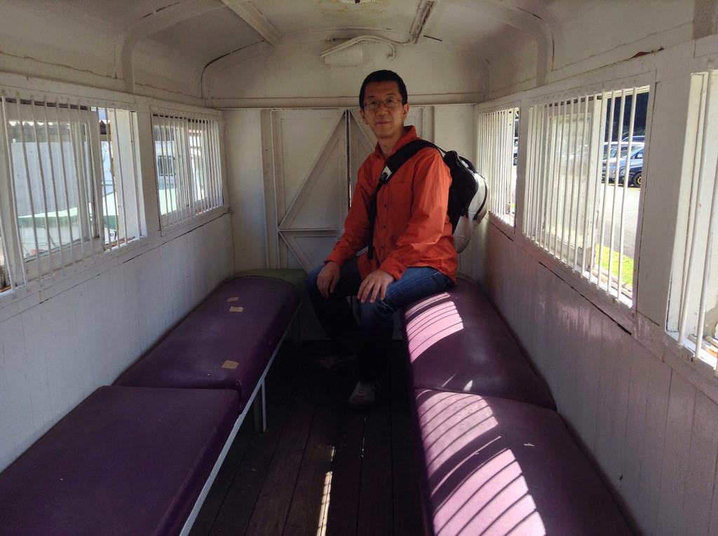 生野銀山 トロッコ列車の中